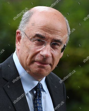 Stock Image of Head of Criminal Justice Sir Brian Leveson PC departs 10 Downing Street in London, Britain, 12 August 2019. British Prime Minister Boris Johnson hosted a roundtable meeting on crime.