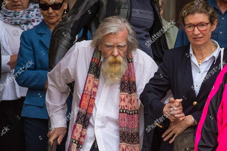 Michael Lonsdale (C) leaves the Saint-Sulpice church after the funeral of the French director Jean-Pierre Mocky, in Paris, France, 12 August 2019. Mocky died at the age of 86 in Paris on 08 August.