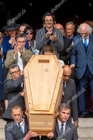 The coffin of French director Jean-Pierre Mocky, followed by his son Stanislas Mokiejewski, aka Stanislas Nordey (C) is carried out of the Church Saint-Sulpice in Paris, France, 12 August 2109, after of the funeral. Mocky died at the age of 86 in Paris on 08 August.