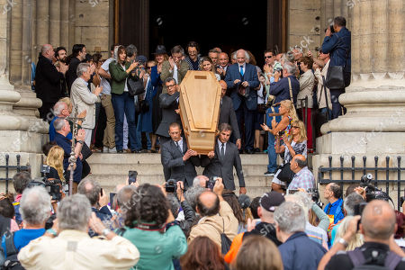 The coffin of French director Jean-Pierre Mocky is carried out of the Church Saint-Sulpice, in Paris, France, 12 August 2019, after of the funeral. Mocky died at the age of 86 in Paris on 08 August.