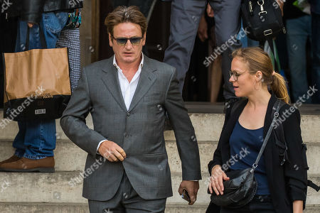 Benoit Magimel (L) leaves the Saint-Sulpice church after the funeral of the French director Jean-Pierre Mocky, in Paris, France, 12 August 2019. Mocky died at the age of 86 in Paris on 08 August.
