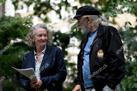 Baroness Jenny Jones (L) seen during the commemoration.