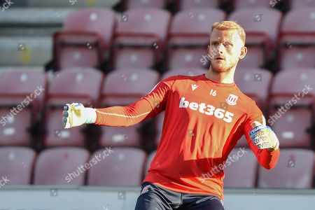 13th August 2019, DW Stadium, Wigan, England; Carabao Cup, Round 1, Wigan Athletic vs Stoke City ; Adam Davies (16) of Stoke City in the warm up Credit: Richard Long/News Images English Football League images are subject to DataCo Licence