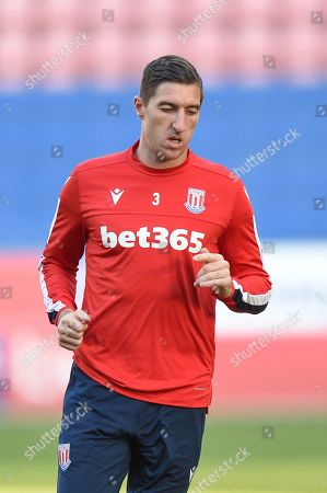 13th August 2019, DW Stadium, Wigan, England; Carabao Cup, Round 1, Wigan Athletic vs Stoke City ; Stephen Ward (3) of Stoke City in the warm up Credit: Richard Long/News Images English Football League images are subject to DataCo Licence