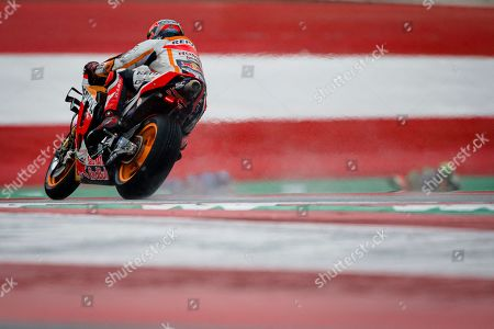 Repsol Honda Team's German rider Stefan Bradl competes during the warm up session prior of the Austrian MotoGP Grand Prix race.