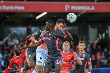 13th August 2019, Moor Lane, Salford, England; Carabao Cup, Round 1, Salford City vs Leeds United ; Joey Jones (25) of Salford City heads clear from a corner  Credit: Mark Cosgrove/News Images English Football League images are subject to DataCo Licence