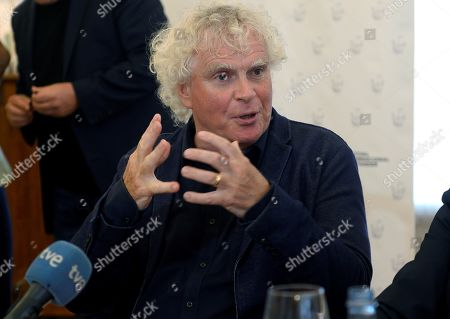 Stock Picture of British orchestra conductor Sir Simon Rattle addresses a press conference in Santander, Spain, 12 August 2019. Rattle is directing the London Symphony Orchestra in concerts held as part of the Santander International Festival on 11 and 12 August.
