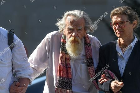 Michael Lonsdale attends the funeral of French film director Jean-Pierre Mocky at Saint Sulpice church