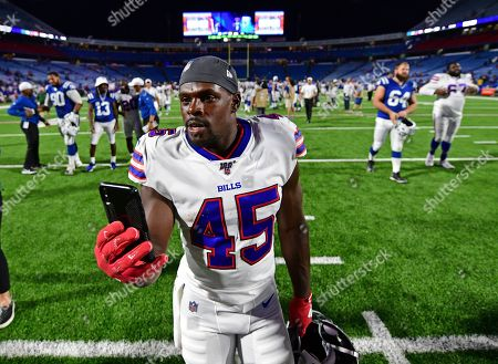 Buffalo Bills' Christian Wade (45) leaves the field after an NFL preseason football game against the Indianapolis Colts, in Orchard Park, N.Y. The Bills won 24-16