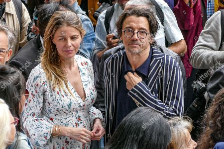 Stanislas Nordey and Olivia Mokiejewski attend the funeral of French film director Jean-Pierre Mocky at Saint Sulpice church