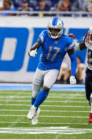 Stock Photo of Detroit Lions wide receiver Andy Jones (17) runs a route against the New England Patriots during an NFL football game at Ford Field in Detroit