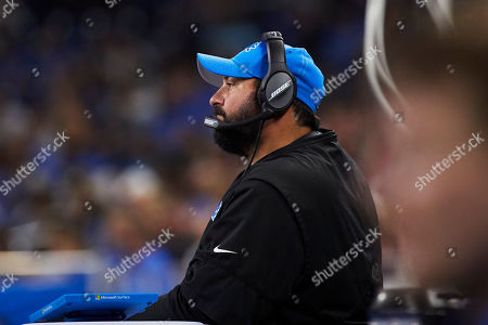 Detroit Lions head coach Matt Patricia on the sideline against the New England Patriots during an NFL football game at Ford Field in Detroit