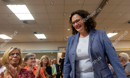 Former Social Democratic Party (SPD) chairwoman Andrea Nahles arrive at the monasterie in Maria Laach, Germany, 12 August 2019. Andrea Nahles gives a speech at the Laacher Forum on equal rights for men and women.