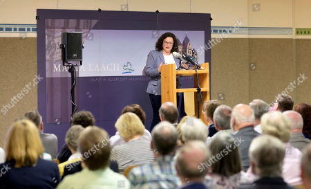 Former Social Democratic Party (SPD) chairwoman Andrea Nahles delivery a speech at the monasterie in Maria Laach, Germany, 12 August 2019. Andrea Nahles gives a speech at the Laacher Forum on equal rights for men and women.