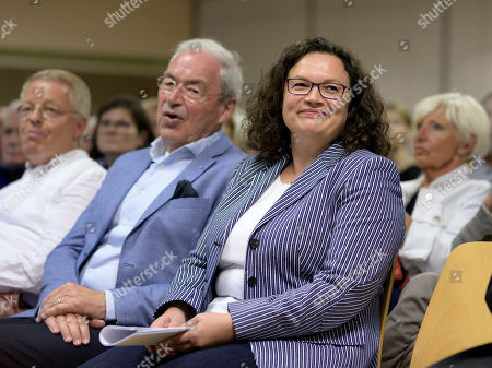 Former Social Democratic Party (SPD) chairwoman Andrea Nahles (R) attends the monasterie in Maria Laach, Germany, 12 August 2019. Andrea Nahles gives a speech at the Laacher Forum on equal rights for men and women.