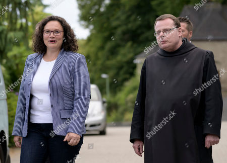 Former Social Democratic Party (SPD) chairwoman Andrea Nahles arrive with Superior Pater Albert, at the monasterie in Maria Laach, Germany, 12 August 2019. Andrea Nahles gives a speech at the Laacher Forum on equal rights for men and women.