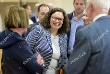 Former Social Democratic Party (SPD) chairwoman Andrea Nahles chat with visitors at the monasterie in Maria Laach, Germany, 12 August 2019. Andrea Nahles gives a speech at the Laacher Forum on equal rights for men and women.