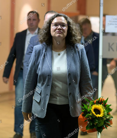 Former Social Democratic Party (SPD) chairwoman Andrea Nahles leaves the monasterie in Maria Laach, Germany, 12 August 2019. Andrea Nahles gave a speech at the Laacher Forum on equal rights for men and women.