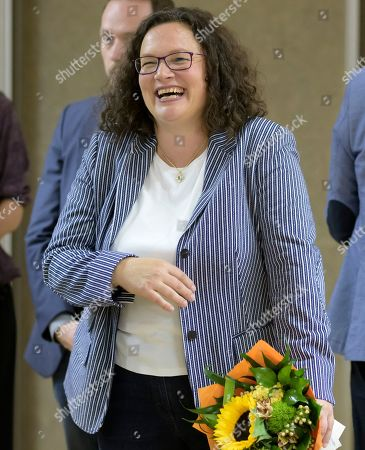 Former Social Democratic Party (SPD) chairwoman Andrea Nahles reacts at the monasterie in Maria Laach, Germany, 12 August 2019. Andrea Nahles gave a speech at the Laacher Forum on equal rights for men and women.