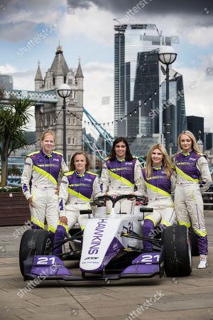 Esmee Hawkey, Sarah Moore, Jessica Hawkins, Alice Powell and championship leader, Jamie Chadwick.