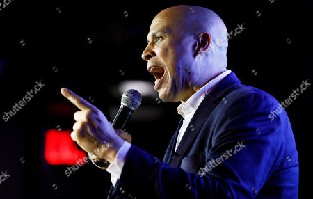 Democratic presidential candidate Senator Corey Booker, of New Jersey, speaks to supporters during a happy hour campaign event in New York, New York, USA, 12 August 2019.