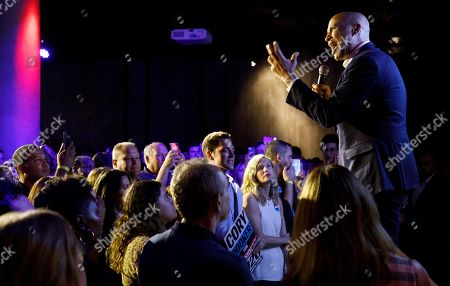 Stock Photo of Democratic presidential candidate Senator Corey Booker (R), of New Jersey, speaks to supporters during a happy hour campaign event in New York, New York, USA, 12 August 2019.