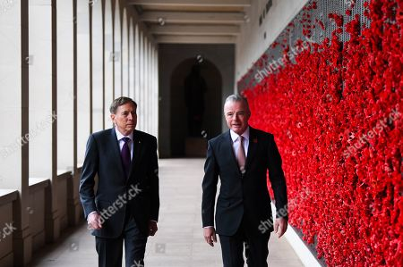 Stock Picture of United States General (retired) David H. Petraeus (L) and Director of the Australian War Memorial Brendan Nelson (R) talk during a visit to the Australian War Memorial in Canberra, Australia, 13 August 2019.