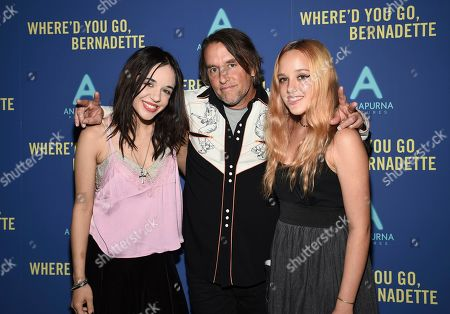 "Lorelei Linklater, Richard Linklater, Charlotte Linklater. Director Richard Linklater, center, poses with daughters Lorelei Linklater, left, and Charlotte Linklater at a special screening of ""Where'd You Go, Bernadette"" at Metrograph, in New York"