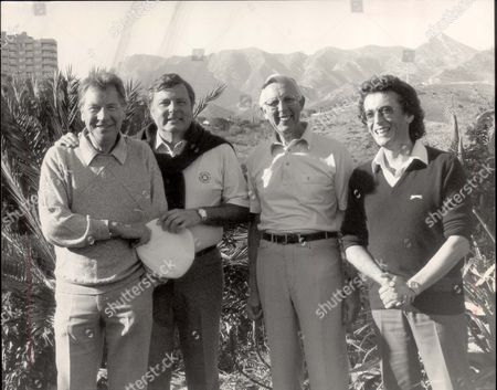 Peter Alliss At The Los Monteros Golf Club In Marbella. Pictured With Max Bygraves Weatherman Jack Scott (died November 2008) And Actor Powell. Jack Scott Died 10/11/2008