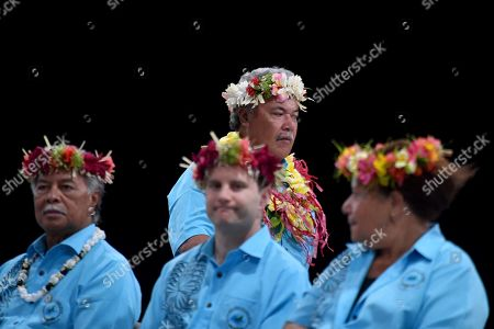 Stock Picture of Tuvalu's Prime Minister Enele Sopoaga walks past Australia's Minister for International Development Alex Hawke at the official opening of the Pacific Islands Forum in Funafuti, Tuvalu, 13 August 2019. The 50th Pacific Islands Forum and Related Meetings, fostering cooperation between governments comprising 18 countries in the region, run from 13 to 16 August 2019 in Tuvalu.