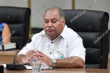 Nauru's President Baron Waqa at the Smaller Island States meeting during the Pacific Islands Forum (PIF) in Funafuti, Tuvalu, 13 August 2019. The 50th Pacific Islands Forum and Related Meetings, fostering cooperation between governments comprising 18 countries in the region, run from 13 to 16 August 2019 in Tuvalu.