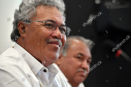 Stock Image of Tuvalu's Prime Minister Enele Sopoaga and Nauru's President Baron Waqa at a press conference during the Pacific Islands Forum (PIF) in Funafuti, Tuvalu, 13 August 2019. The 50th Pacific Islands Forum and Related Meetings, fostering cooperation between governments comprising 18 countries in the region, run from 13 to 16 August 2019 in Tuvalu.