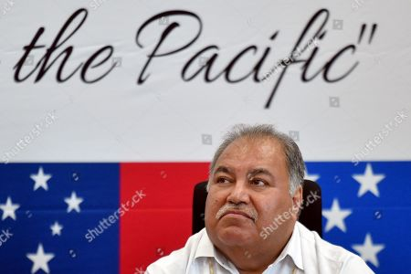 Nauru's President Baron Waqa at a press conference during the Pacific Islands Forum (PIF) in Funafuti, Tuvalu, 13 August 2019. The 50th Pacific Islands Forum and Related Meetings, fostering cooperation between governments comprising 18 countries in the region, run from 13 to 16 August 2019 in Tuvalu.