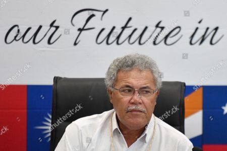 Tuvalu's Prime Minister Enele Sopoaga at a press conference during the Pacific Islands Forum (PIF) in Funafuti, Tuvalu, 13 August 2019. The 50th Pacific Islands Forum and Related Meetings, fostering cooperation between governments comprising 18 countries in the region, run from 13 to 16 August 2019 in Tuvalu.