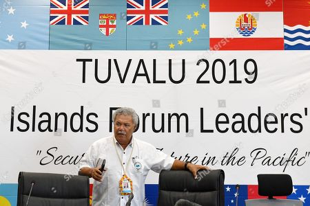 Tuvalu's Prime Minister Enele Sopoaga arrives at a press conference during the Pacific Islands Forum (PIF) in Funafuti, Tuvalu, 13 August 2019. The 50th Pacific Islands Forum and Related Meetings, fostering cooperation between governments comprising 18 countries in the region, run from 13 to 16 August 2019 in Tuvalu.
