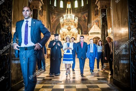Bulgarian Foreign Affairs Minister Ekaterina Zaharieva (C) and her Japanese counterpart Taro Kono (C-R) visit the Saint Sofia Church and the St. Alexander Nevsky Cathedral in Sofia, Bulgaria, 13 August 2019. Kono is in Bulgaria on a two-day official visit.