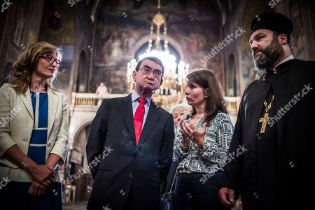 Bulgarian Foreign Affairs Minister Ekaterina Zaharieva (L) and her Japanese counterpart Taro Kono (2-L) visit the Saint Sofia Church and the St. Alexander Nevsky Cathedral in Sofia, Bulgaria, 13 August 2019. Kono is in Bulgaria on a two-day official visit.