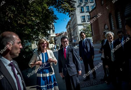 Bulgarian Foreign Affairs Minister Ekaterina Zaharieva (2-L) and her Japanese counterpart Taro Kono (C) visit the Saint Sofia Church and the St. Alexander Nevsky Cathedral in Sofia, Bulgaria, 13 August 2019. Kono is in Bulgaria on a two-day official visit.