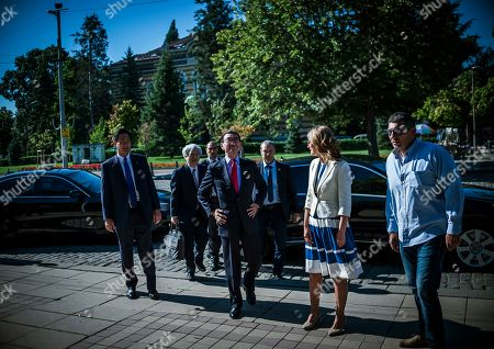 Bulgarian Foreign Affairs Minister Ekaterina Zaharieva (2-R) and her Japanese counterpart Taro Kono (C) visit the Saint Sofia Church and the St. Alexander Nevsky Cathedral in Sofia, Bulgaria, 13 August 2019. Kono is in Bulgaria on a two-day official visit.