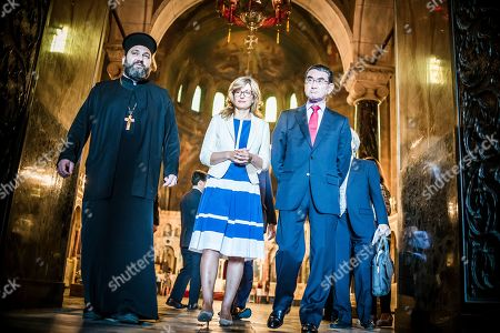 Bulgarian Foreign Affairs Minister Ekaterina Zaharieva (C) and her Japanese counterpart Taro Kono (R) visit the Saint Sofia Church and the St. Alexander Nevsky Cathedral in Sofia, Bulgaria, 13 August 2019. Kono is in Bulgaria on a two-day official visit.
