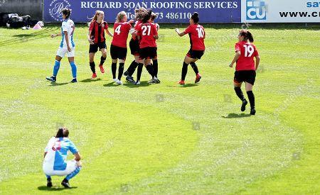 Emma Jones of Lewes celebrates scoring the opening goal.
