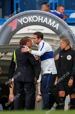 Chelsea Manager Frank Lampard shakes hands with Leicester City Manager Brendan Rogers at the end of the game