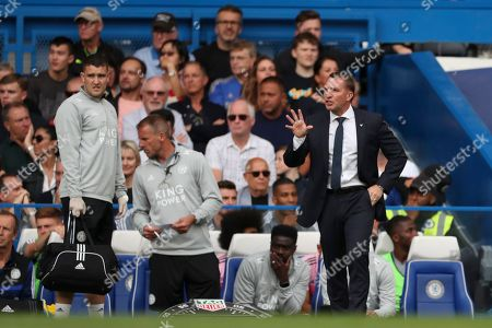 Leicester City Manager Brendan Rogers reacts on the sideline