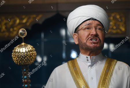 Stock Image of Muslim festival of sacrifice Kurban Bayram in the Moscow Cathedral Mosque. Chairman of the Presidium of the Spiritual Administration of Muslims of the European part of Russia, Chairman of the Council of Muftis of Russia Ravil Gainutdin in a mosque.