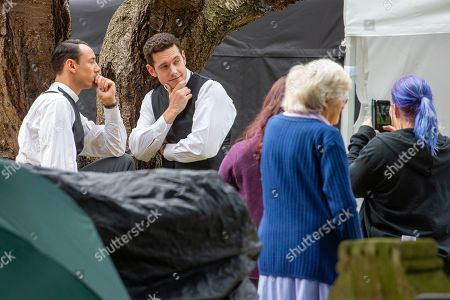 Al Weaver and Tom Brittney posing for a picture on the first day of filming for Series 5 of the ITV drama Grantchester