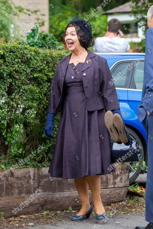 Stock Photo of Tessa Peake-Jones on the first day of filming for Series 5 of the ITV drama Grantchester, being filmed in Grantchester
