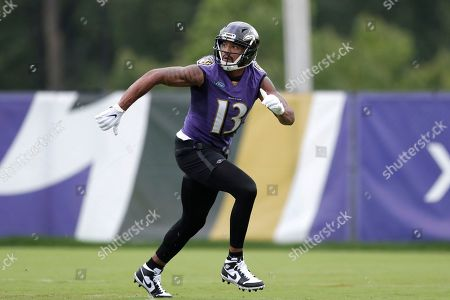 Baltimore Ravens wide receiver Michael Floyd works out during NFL football training camp, in Owings Mills, Md