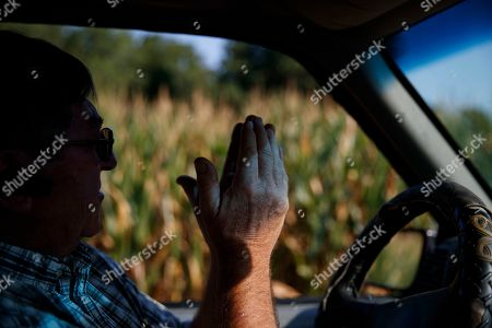 "Richard Wilkins describes how his struggling corn crop needs rain as he sits in his truck next to a cornfield in his Greenwood, Del., farm . ""We're trying to do what we can,"" said Wilkins, who shuns the federal farm habitat programs, but hopes that leaving what weeds and wildflowers survive in hard-to-mow areas helps wildlife"