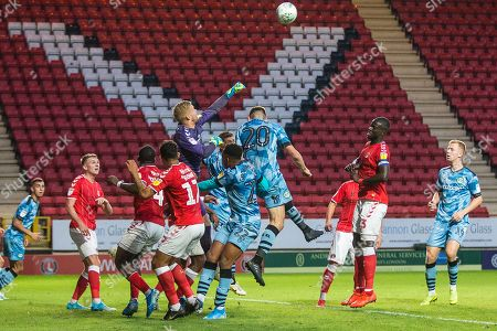 Charlton Athletics Ben Amos (13) punches the ball clear during the EFL Cup match between Charlton Athletic and Forest Green Rovers at The Valley, London
