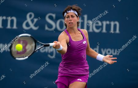 Carla Suarez Navarro of Spain in action during her first-round match